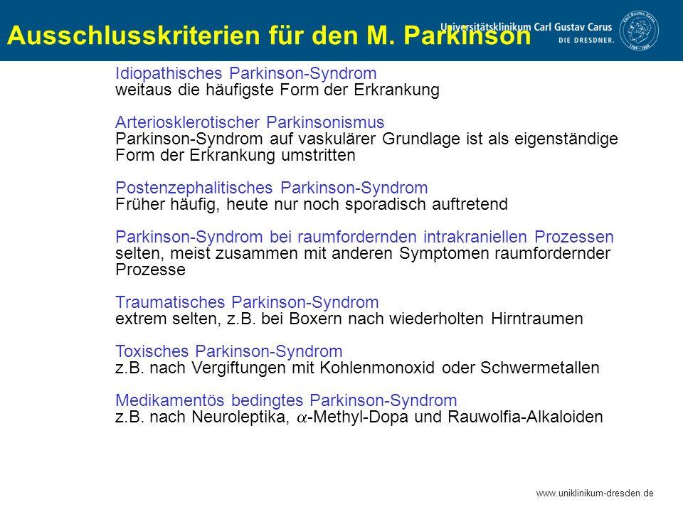 Ausschlusskriterien für den M. Parkinson