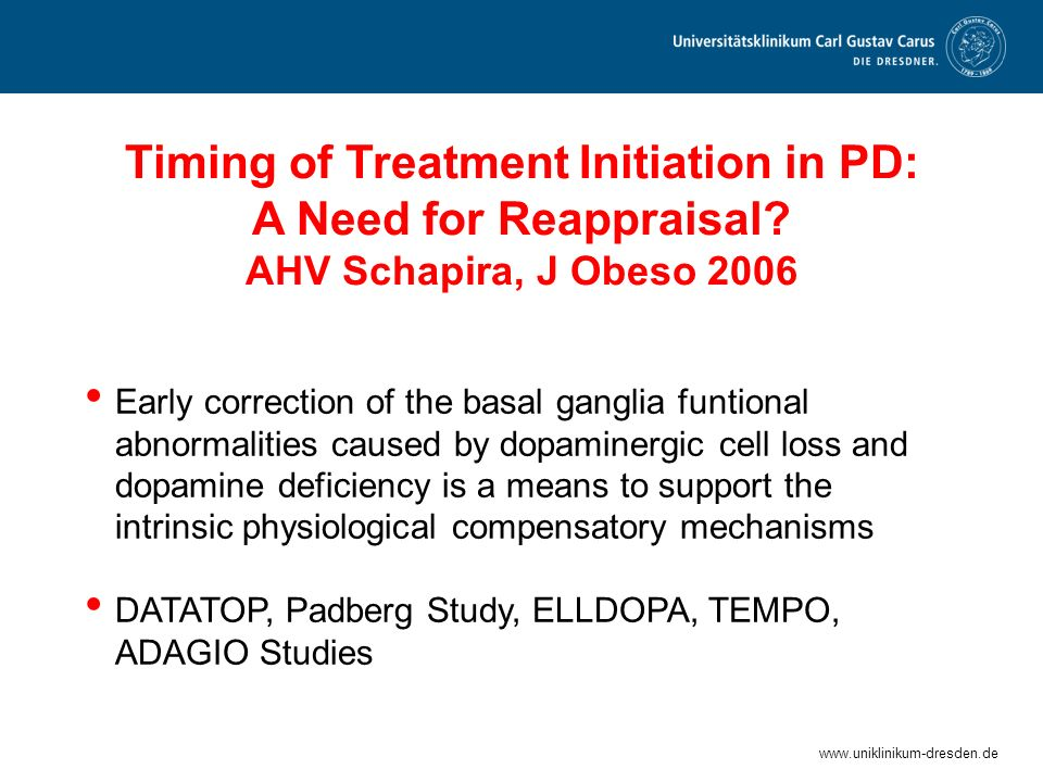 Timing of Treatment Initiation in PD: