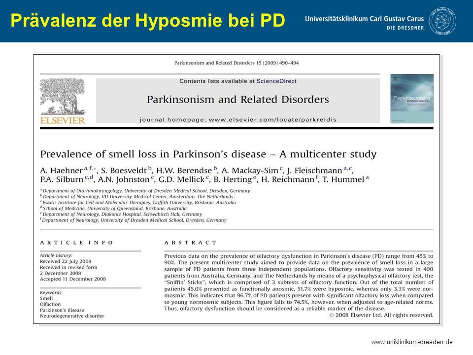 Prävalenz der Hyposmie bei PD