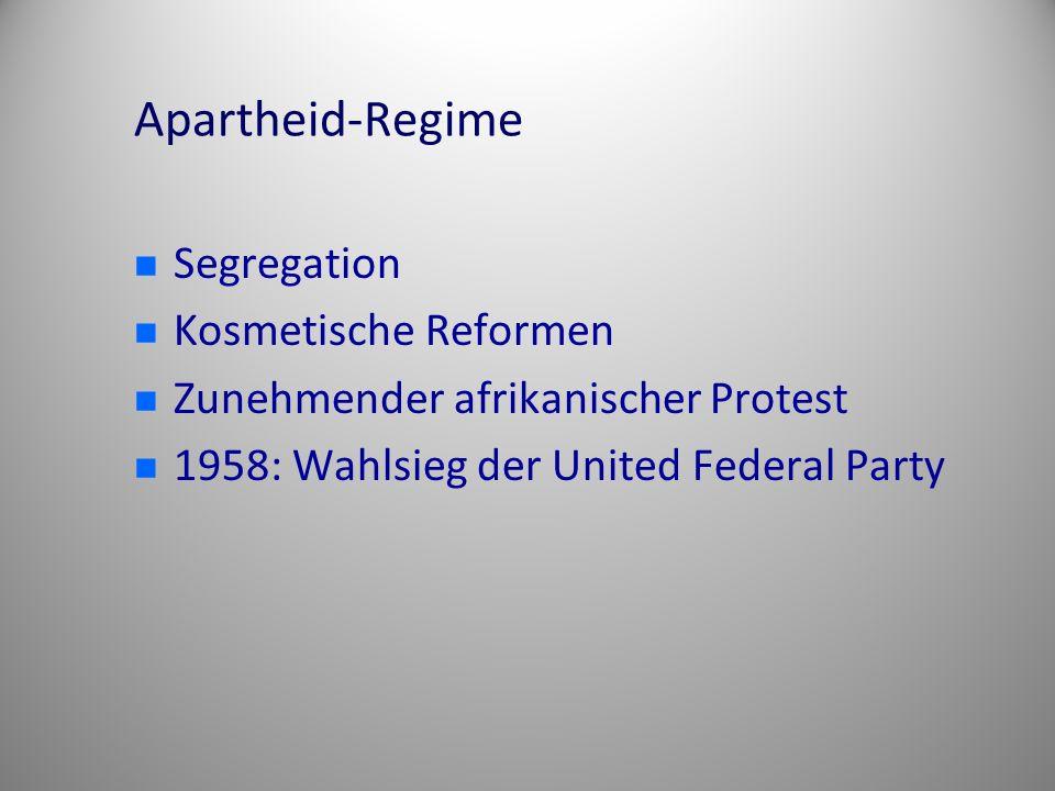 Apartheid-Regime Segregation Kosmetische Reformen