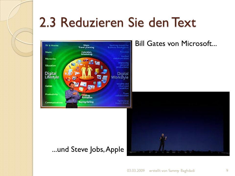 2.3 Reduzieren Sie den Text