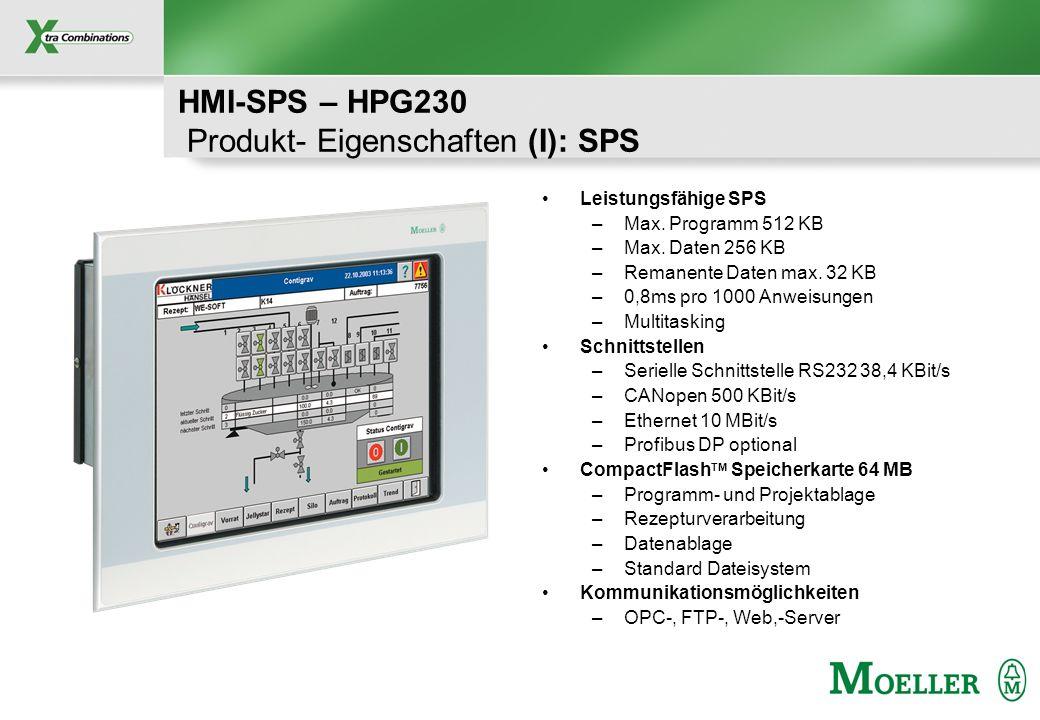 HMI-SPS – HPG230 Produkt- Eigenschaften (I): SPS
