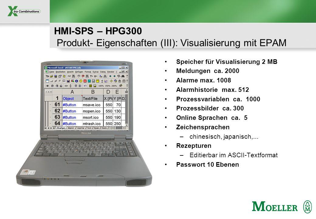 HMI-SPS – HPG300 Produkt- Eigenschaften (III): Visualisierung mit EPAM
