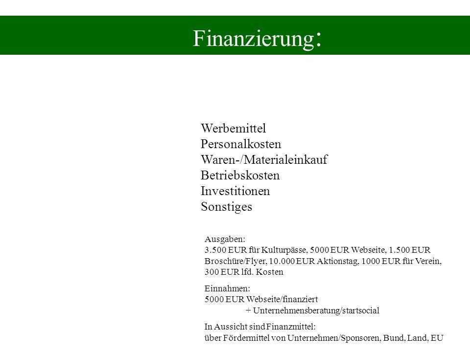 Finanzierung:Werbemittel Personalkosten Waren-/Materialeinkauf Betriebskosten Investitionen Sonstiges.