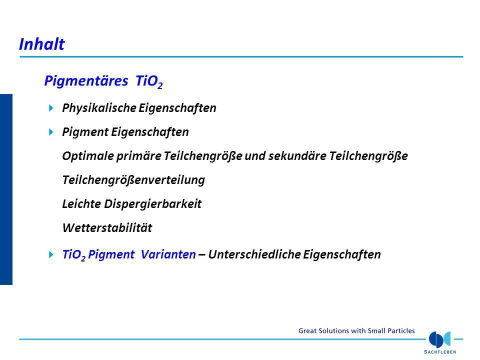 Inhalt Pigmentäres TiO2 Physikalische Eigenschaften