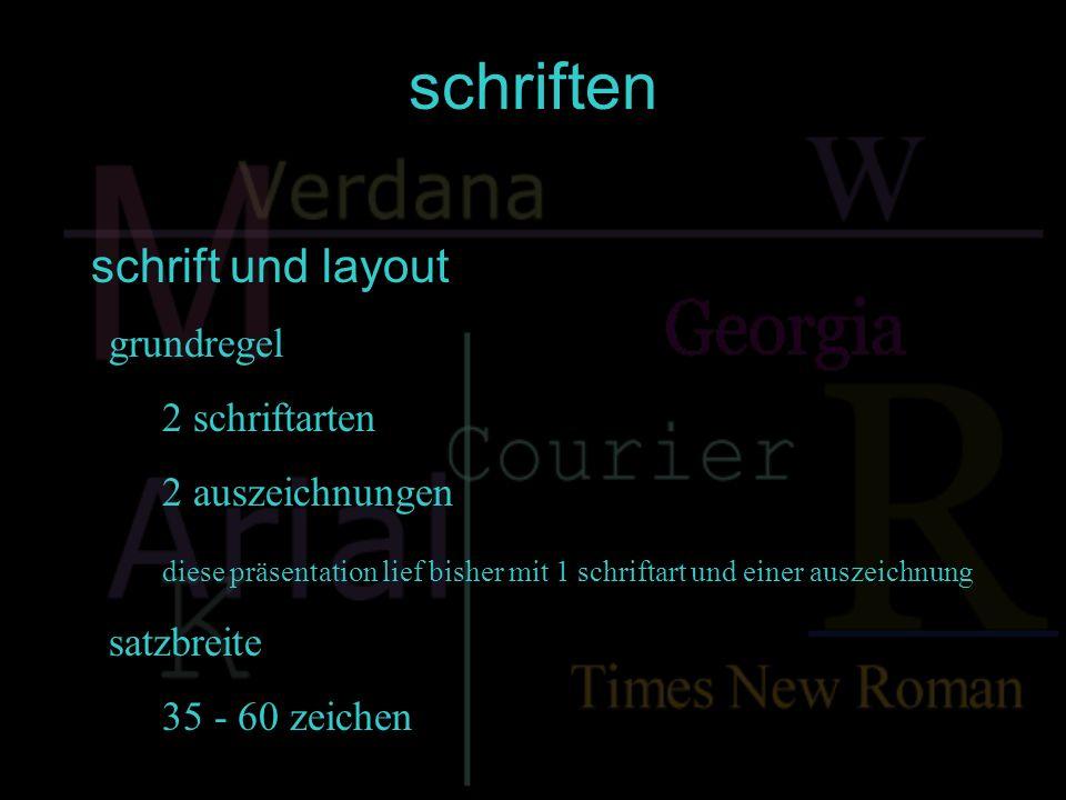 schriften schrift und layout grundregel 2 schriftarten