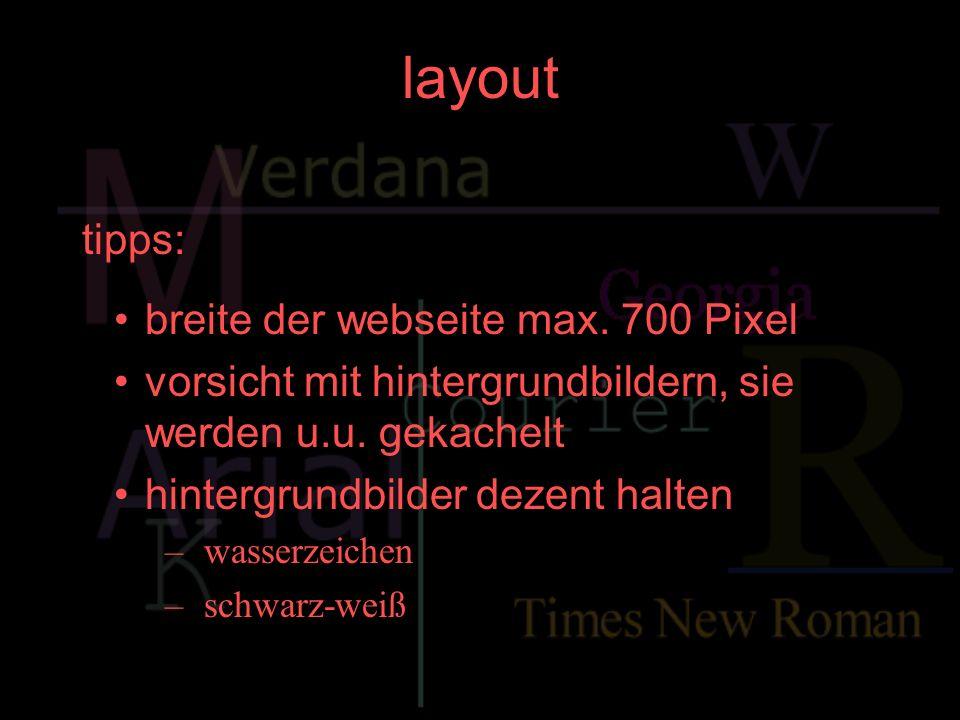 layout tipps: breite der webseite max. 700 Pixel