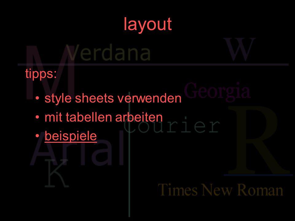 layout tipps: style sheets verwenden mit tabellen arbeiten beispiele