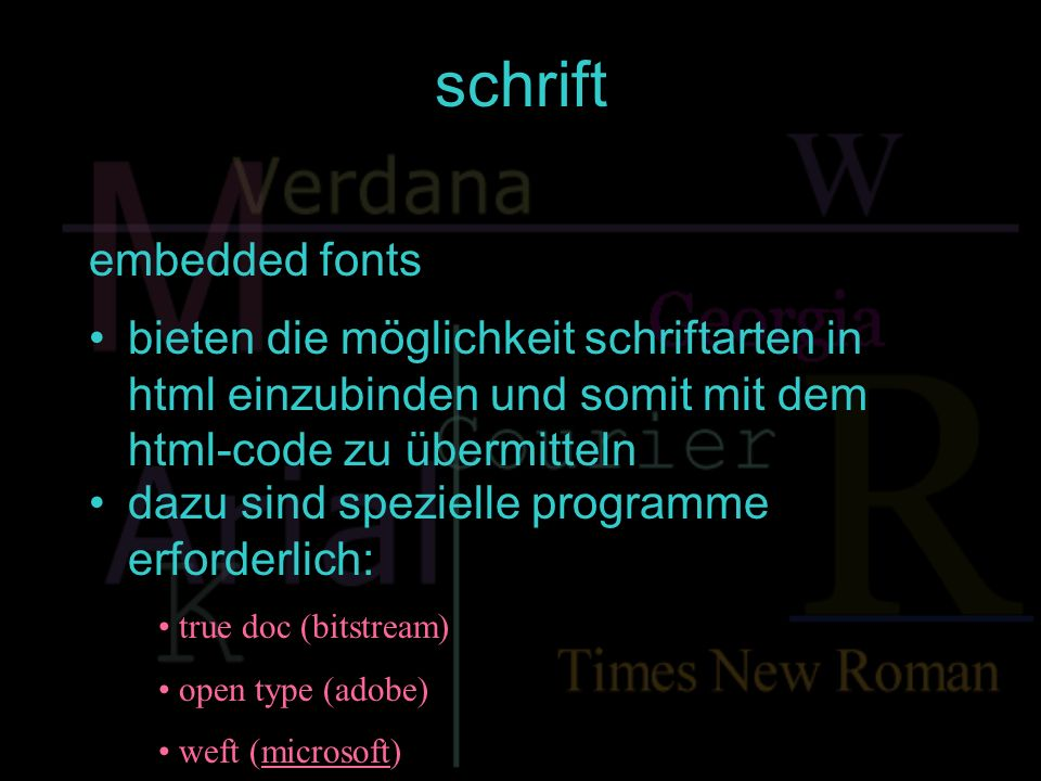 schrift embedded fonts