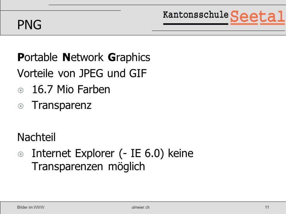 PNG Portable Network Graphics Vorteile von JPEG und GIF