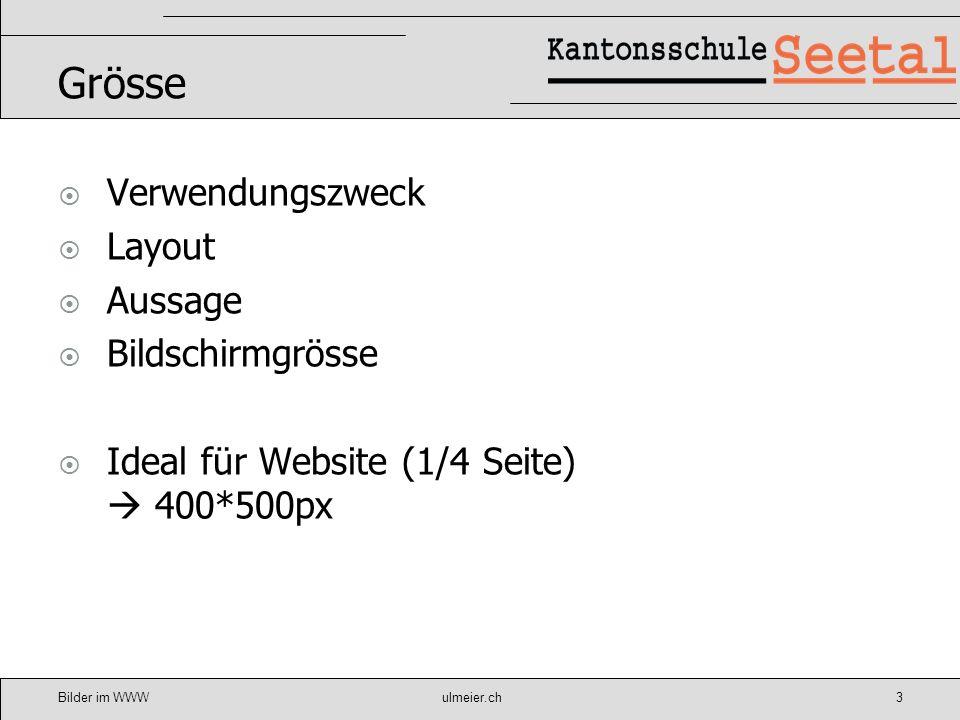 Grösse Verwendungszweck Layout Aussage Bildschirmgrösse