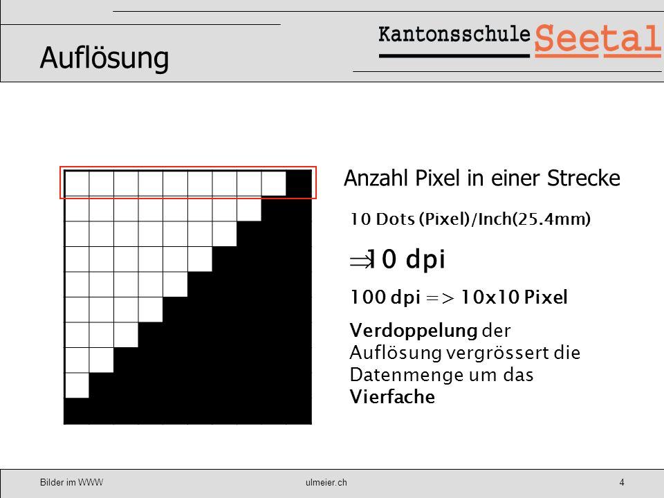Auflösung 10 dpi Anzahl Pixel in einer Strecke