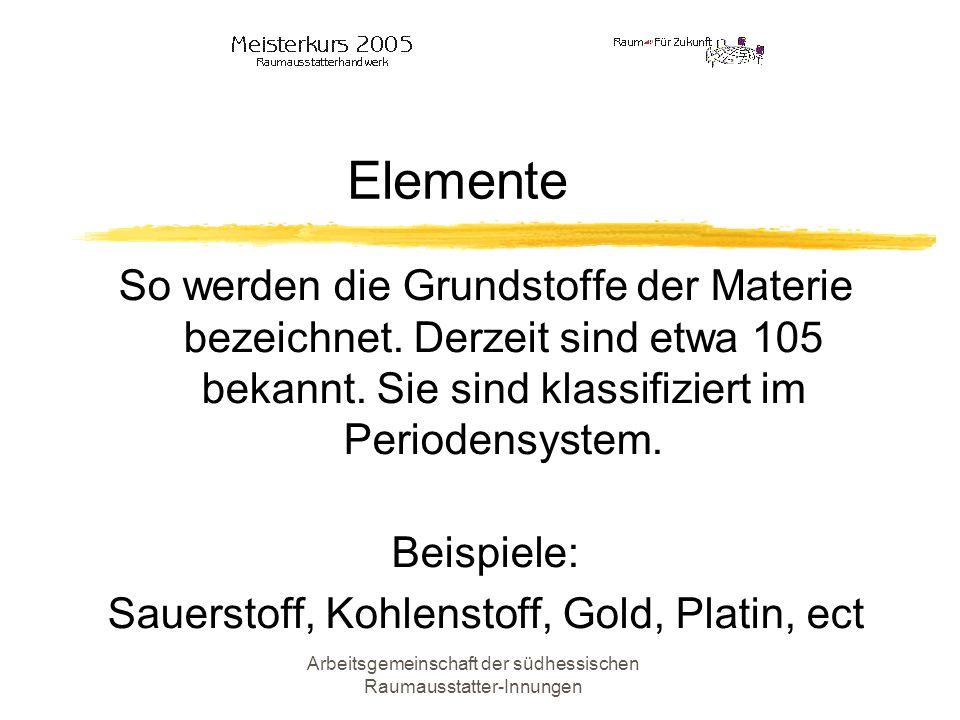 Elemente So werden die Grundstoffe der Materie bezeichnet. Derzeit sind etwa 105 bekannt. Sie sind klassifiziert im Periodensystem.