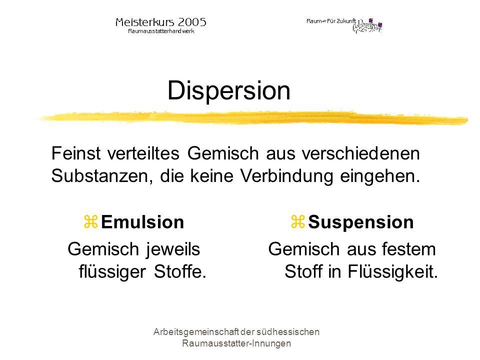 Dispersion Feinst verteiltes Gemisch aus verschiedenen