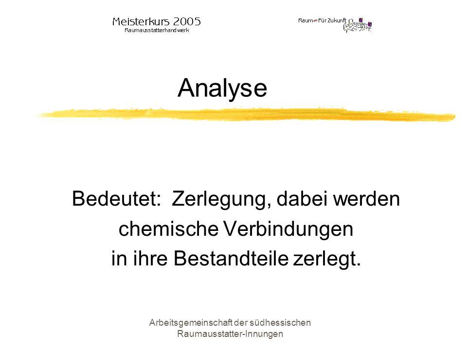 Analyse Bedeutet: Zerlegung, dabei werden chemische Verbindungen