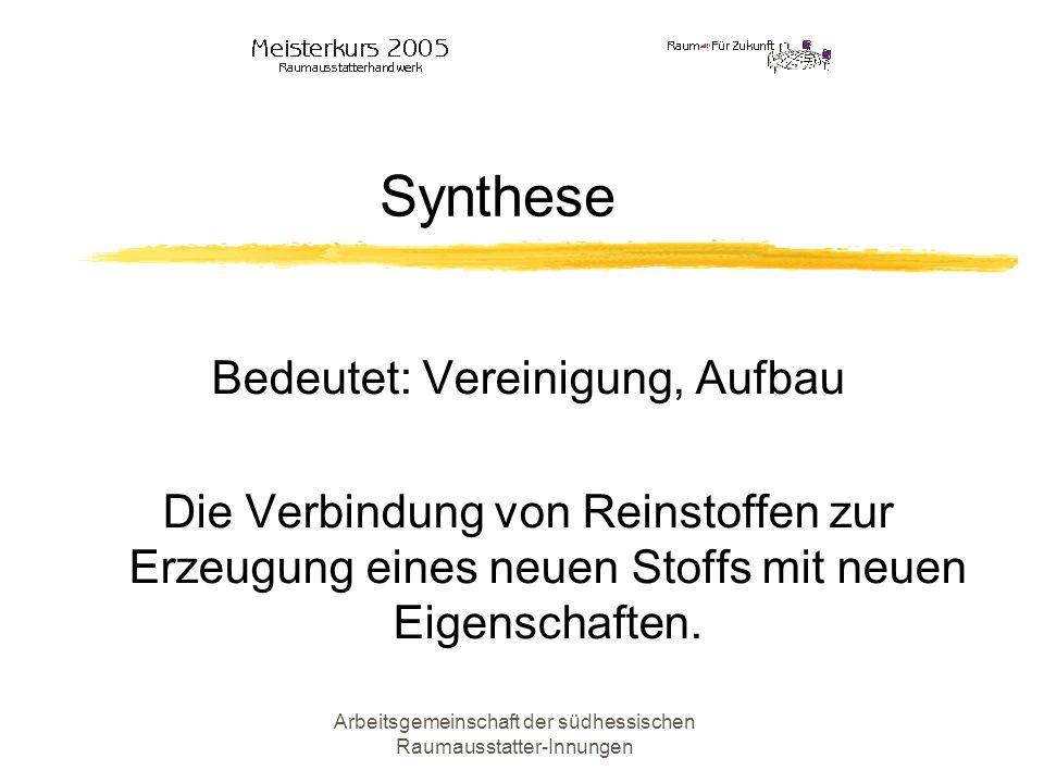 Synthese Bedeutet: Vereinigung, Aufbau