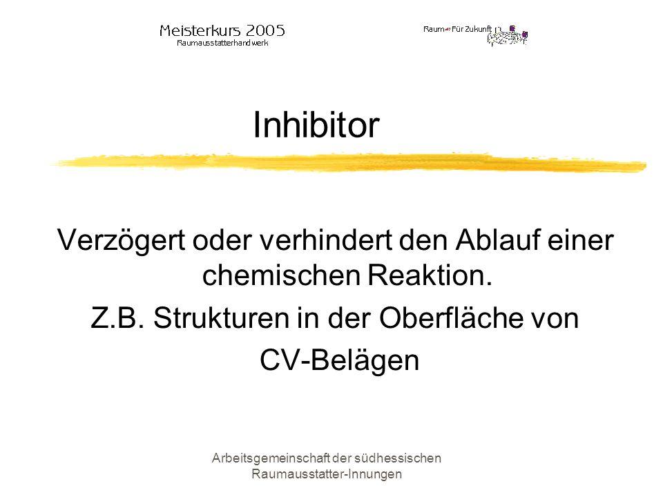 Inhibitor Verzögert oder verhindert den Ablauf einer chemischen Reaktion. Z.B. Strukturen in der Oberfläche von.