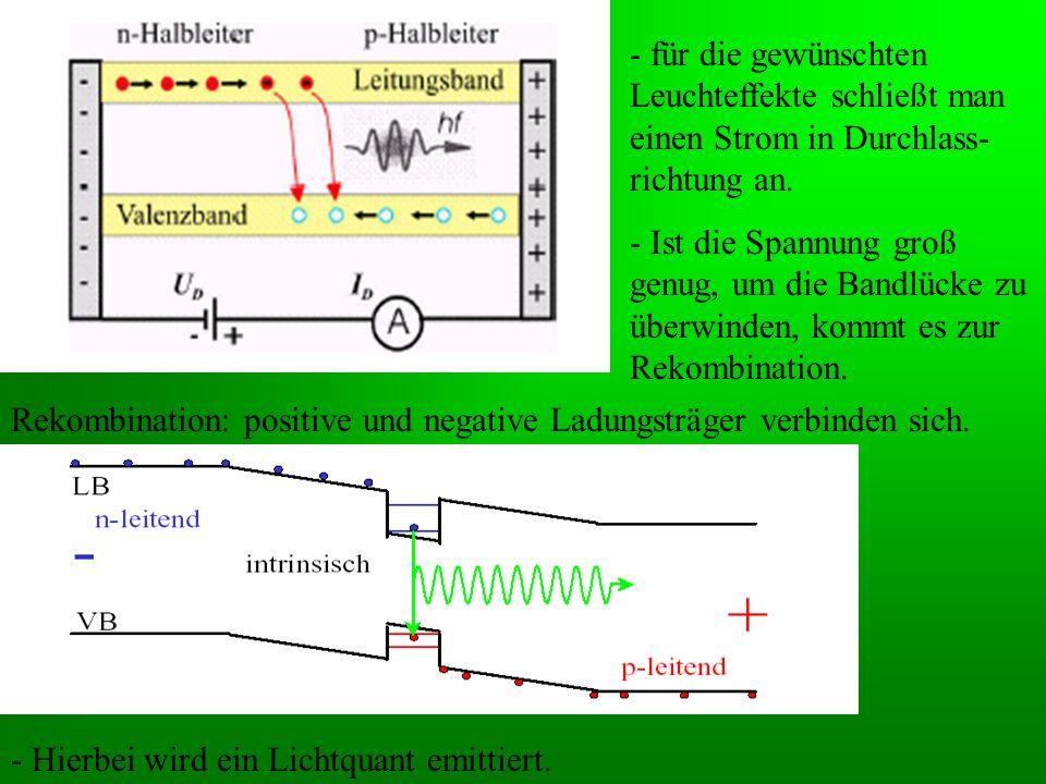 - für die gewünschten Leuchteffekte schließt man einen Strom in Durchlass-richtung an.