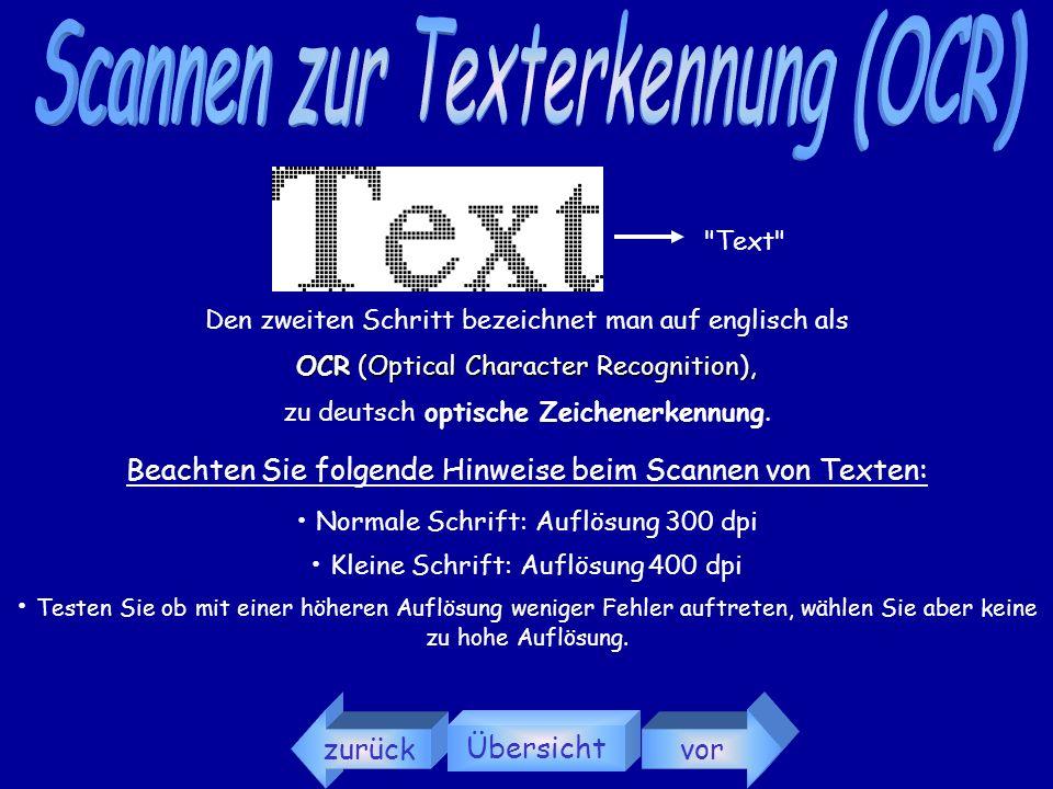 Scannen zur Texterkennung (OCR)