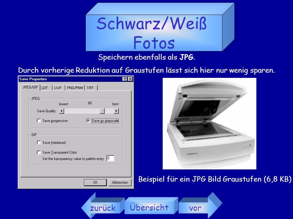 Schwarz/Weiß Fotos zurück Übersicht vor Speichern ebenfalls als JPG.