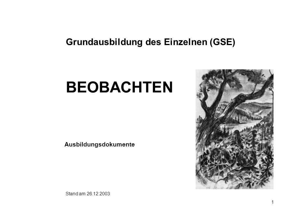 BEOBACHTEN Grundausbildung des Einzelnen (GSE) Ausbildungsdokumente