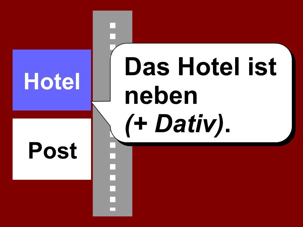 Das Hotel ist neben (+ Dativ). Hotel Post
