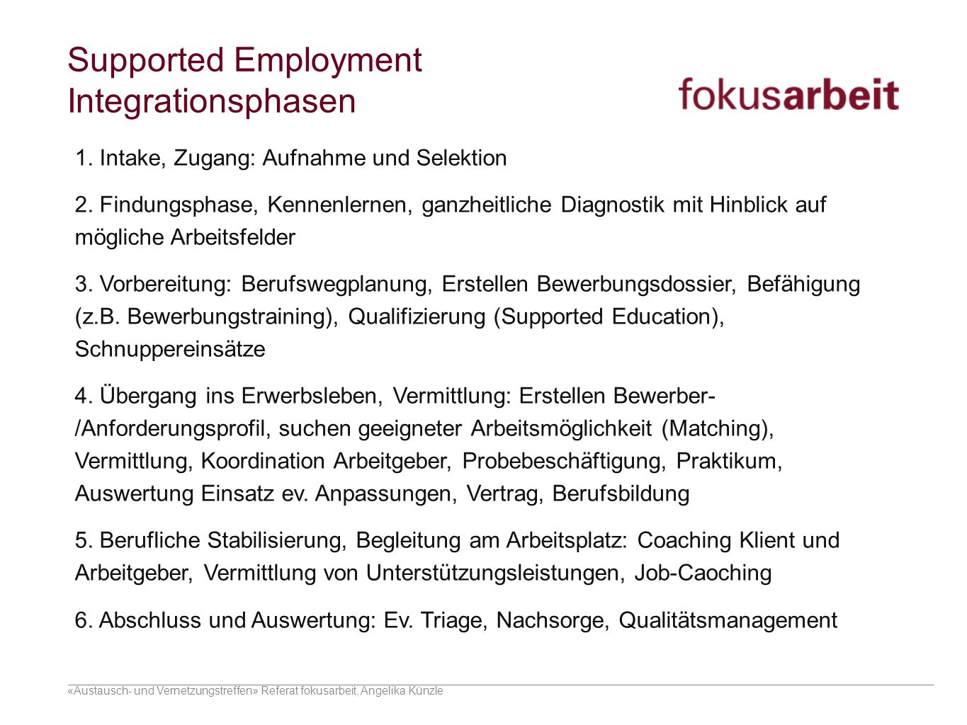Supported Employment Integrationsphasen