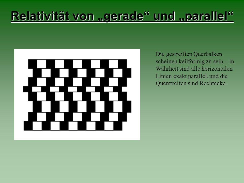"""Relativität von """"gerade und """"parallel"""