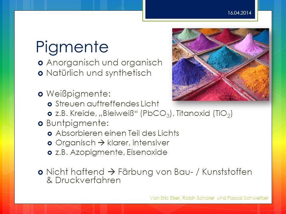 Pigmente Anorganisch und organisch Natürlich und synthetisch