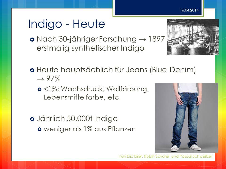28.03.2017 Indigo - Heute. Nach 30-jähriger Forschung → 1897 erstmalig synthetischer Indigo. Heute hauptsächlich für Jeans (Blue Denim) → 97%
