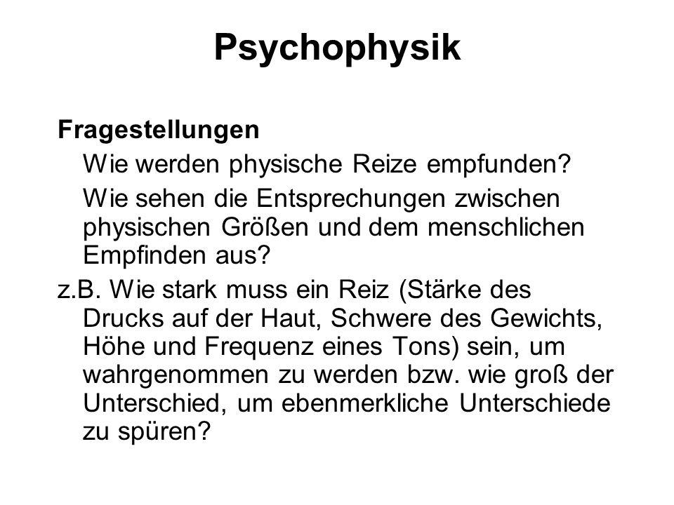 Psychophysik Fragestellungen Wie werden physische Reize empfunden