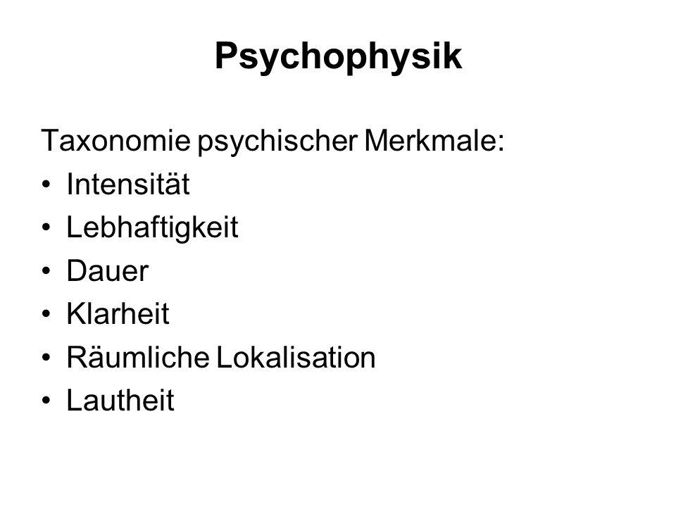 Psychophysik Taxonomie psychischer Merkmale: Intensität Lebhaftigkeit