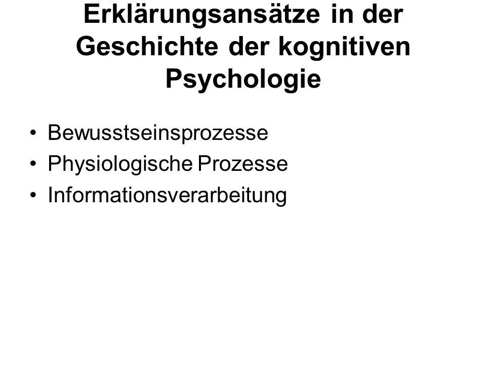 Erklärungsansätze in der Geschichte der kognitiven Psychologie