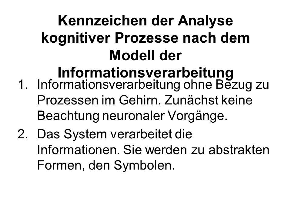Kennzeichen der Analyse kognitiver Prozesse nach dem Modell der Informationsverarbeitung
