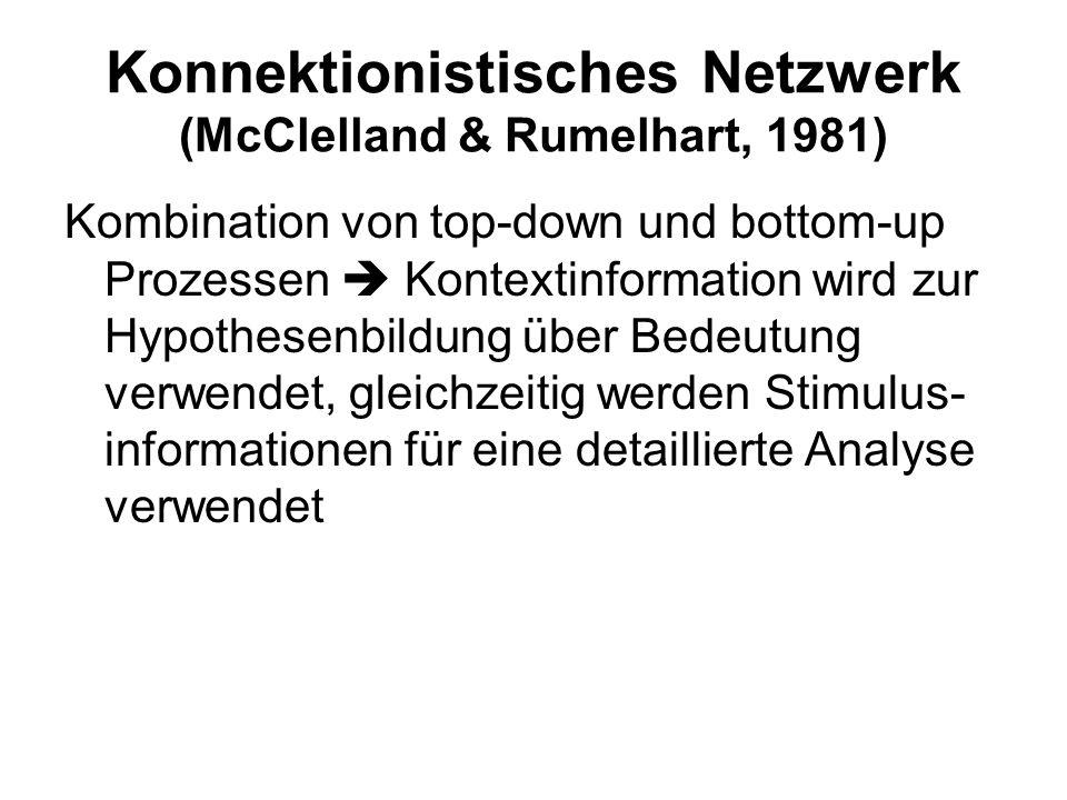 Konnektionistisches Netzwerk (McClelland & Rumelhart, 1981)