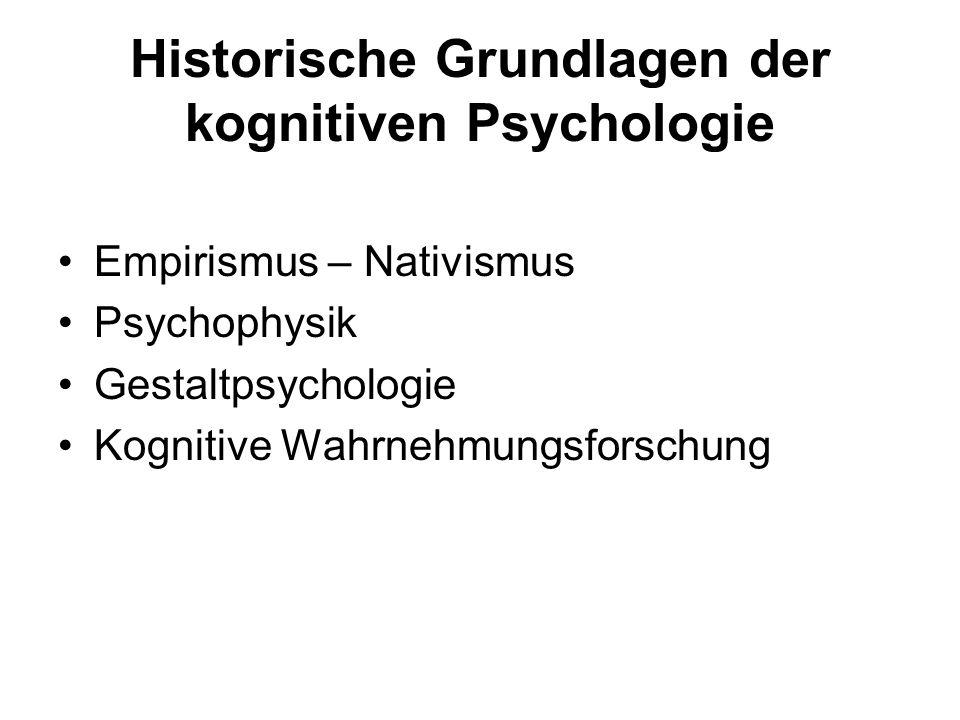 Historische Grundlagen der kognitiven Psychologie