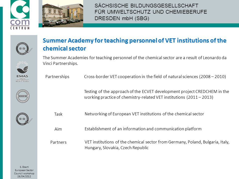 Summer Academy for teaching personnel of VET institutions of the chemical sector