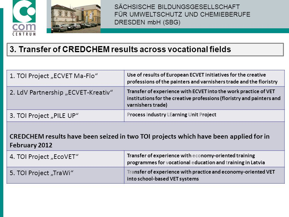 3. Transfer of CREDCHEM results across vocational fields