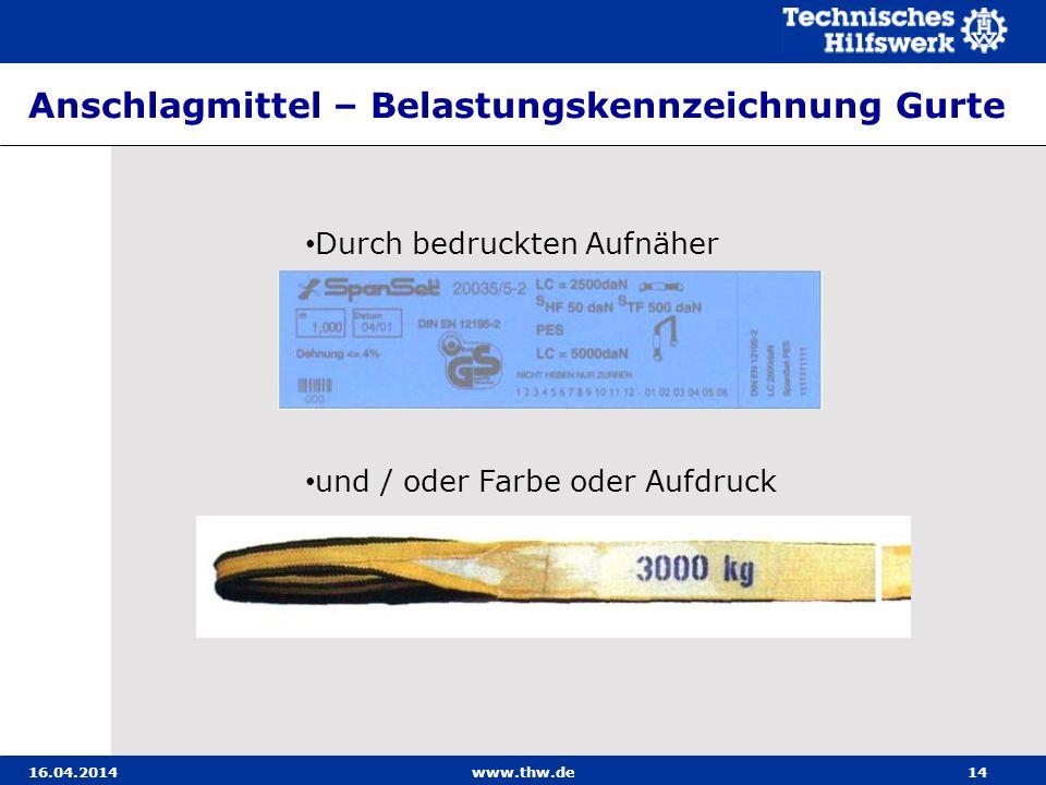 Anschlagmittel – Belastungskennzeichnung Gurte