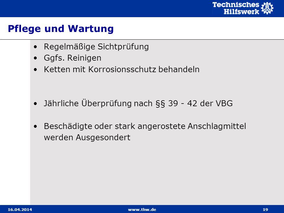 Pflege und Wartung Regelmäßige Sichtprüfung Ggfs. Reinigen