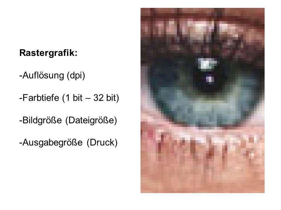 Rastergrafik: Auflösung (dpi) Farbtiefe (1 bit – 32 bit) Bildgröße (Dateigröße) Ausgabegröße (Druck)