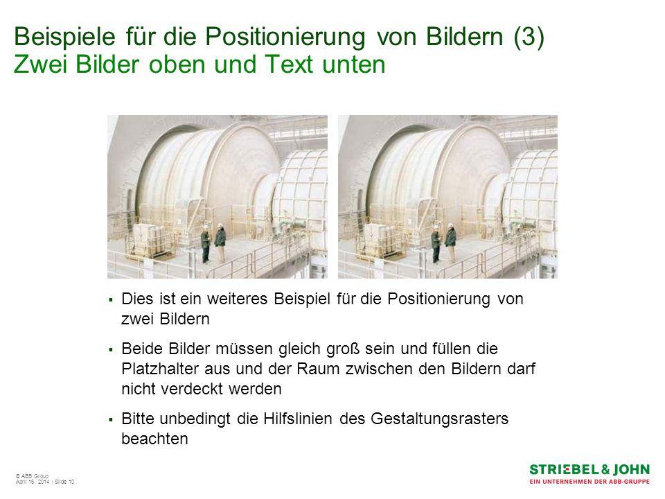 Beispiele für die Positionierung von Bildern (3) Zwei Bilder oben und Text unten