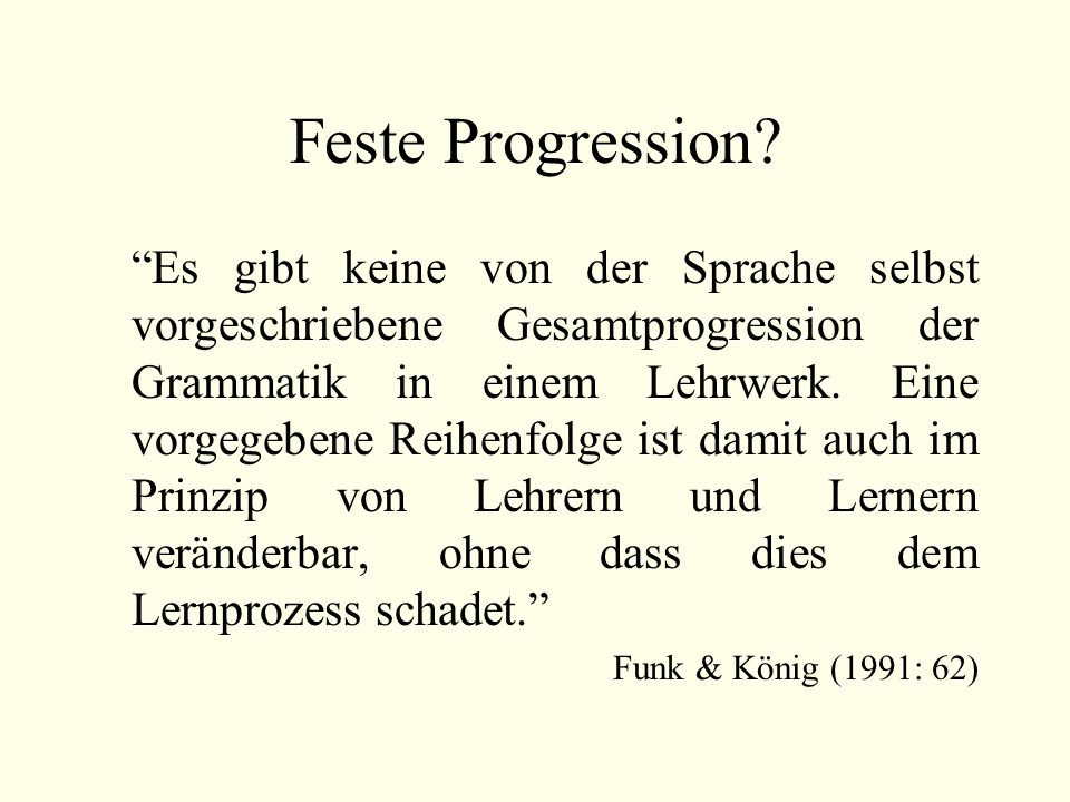 Feste Progression