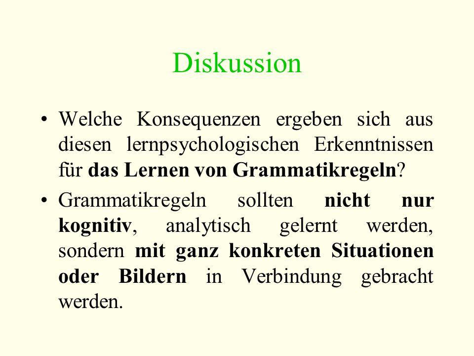 Diskussion Welche Konsequenzen ergeben sich aus diesen lernpsychologischen Erkenntnissen für das Lernen von Grammatikregeln