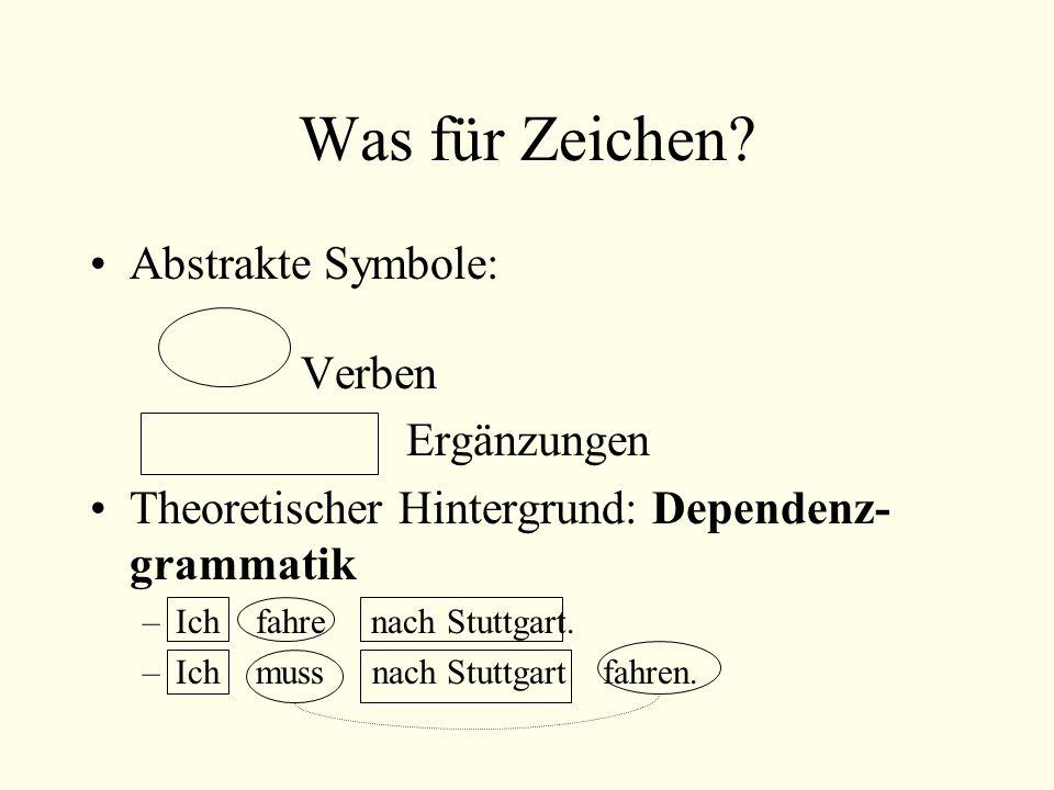 Was für Zeichen Abstrakte Symbole: Verben Ergänzungen
