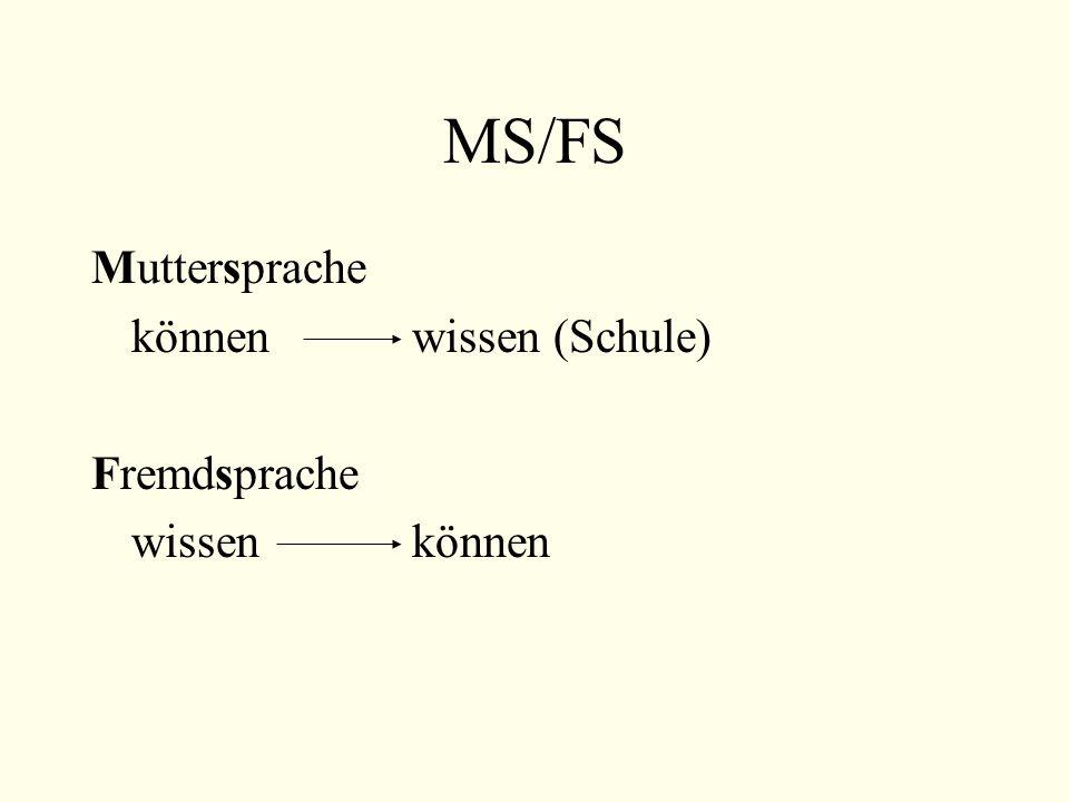 MS/FS Muttersprache können wissen (Schule) Fremdsprache wissen können