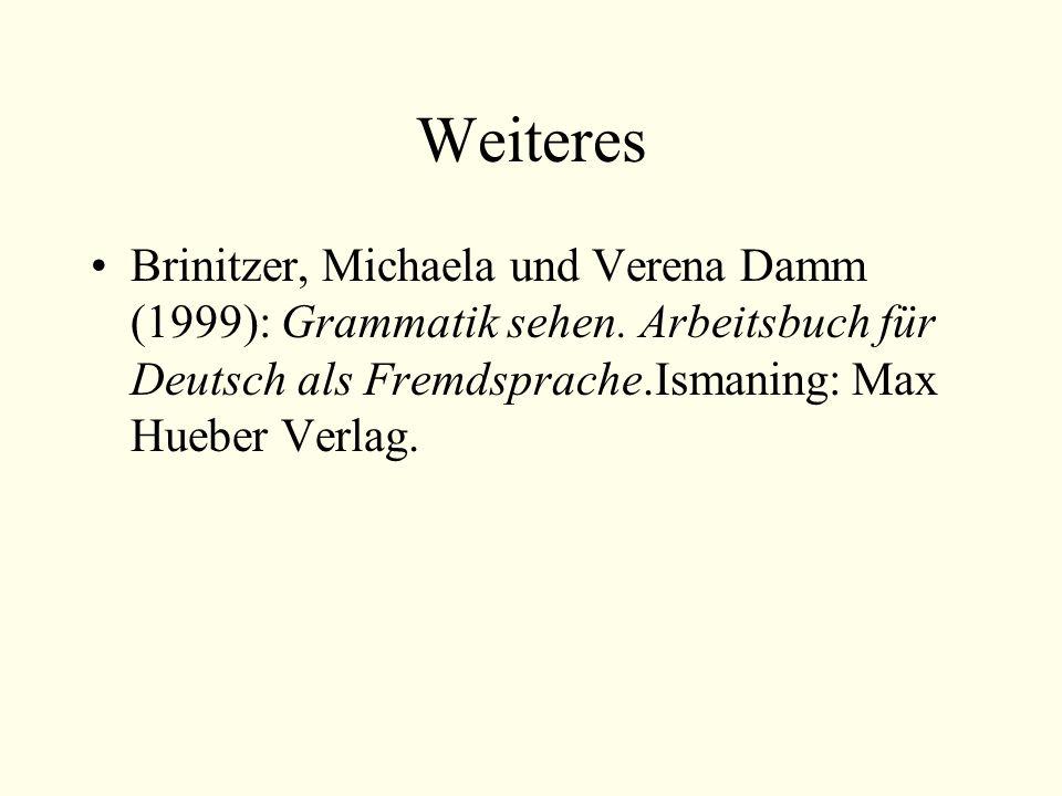 Weiteres Brinitzer, Michaela und Verena Damm (1999): Grammatik sehen.