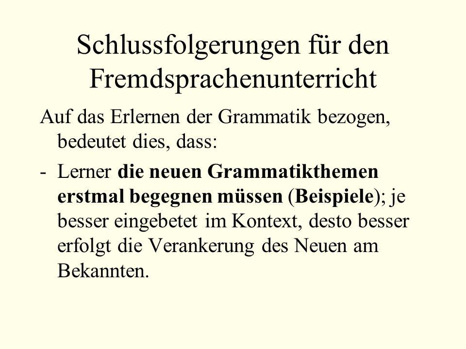 Schlussfolgerungen für den Fremdsprachenunterricht
