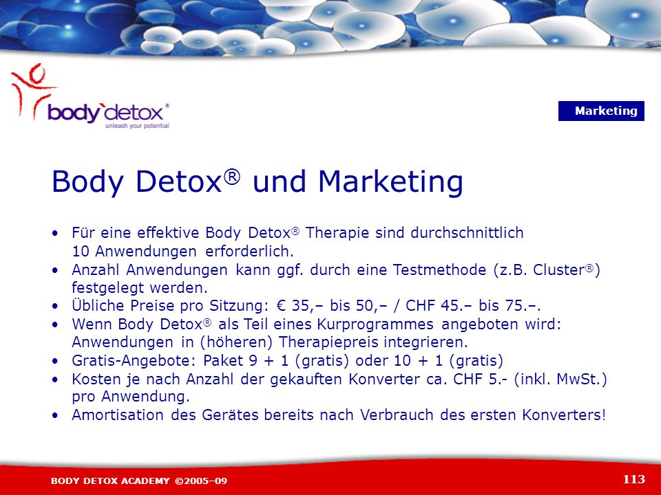 Body Detox® und Marketing