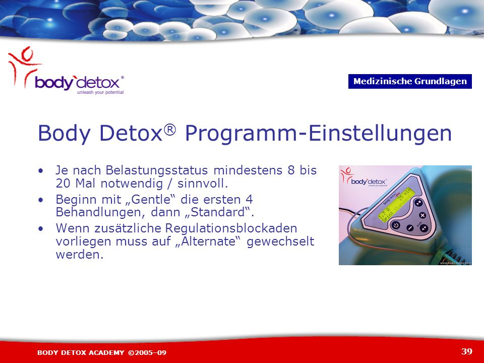 Body Detox® Programm-Einstellungen